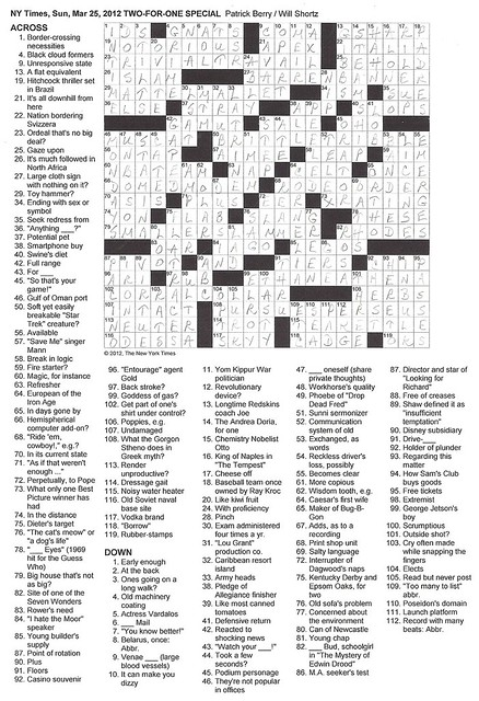 NYT Sunday Puzzle - March 25, 2012