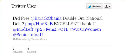 Sample Tweet—Did President Barack Obama Double Our National Debt?