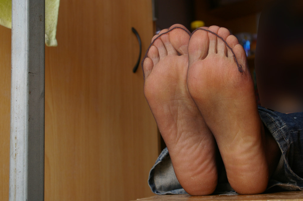 Sheer nylon feet free apologise, but