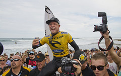 A very happy Mick Fanning celebrates his second Bells title. His first was back in 2001