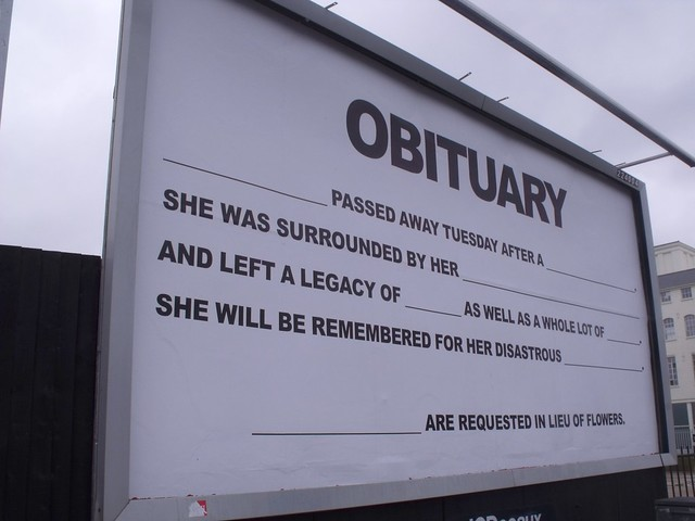 48Sheet billboard art project - Birmingham - High Street Deritend - Digbeth - Obituary from Flickr via Wylio