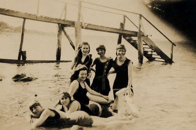Group of friends swimming at Wellington Point near Brisbane - 1920
