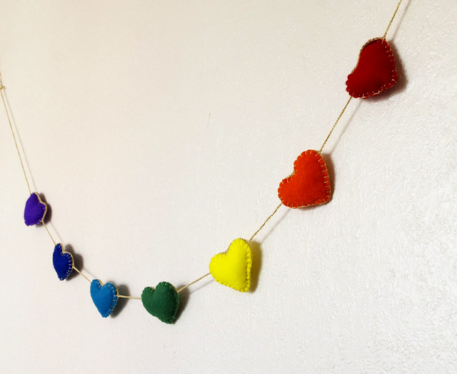 Rainbow felt heart garland cocoflower