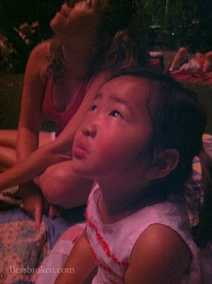 lily watching fireworks