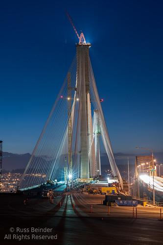 bridge canada night construction bc crane cable surrey transcanadahighway stayed 85mmf14 portmannbridge