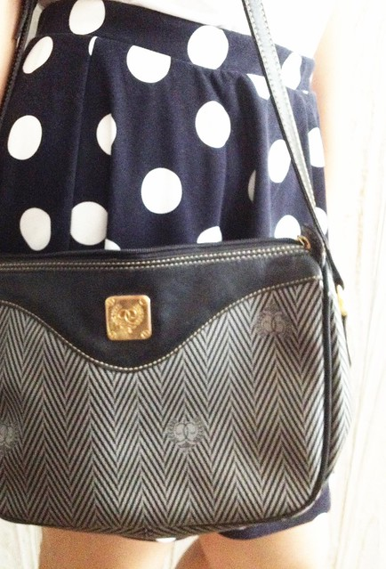Vintage bag, polka dot skirt