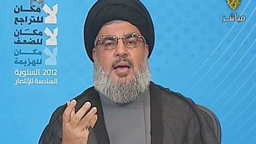 Hizbollah leader Seyyed Hassan Nasrallah speaks on the sixth anniversary of the defeat of Israel in their attempted invasion of Lebanon. The Zionist suffered a huge setback to their military image. by Pan-African News Wire File Photos