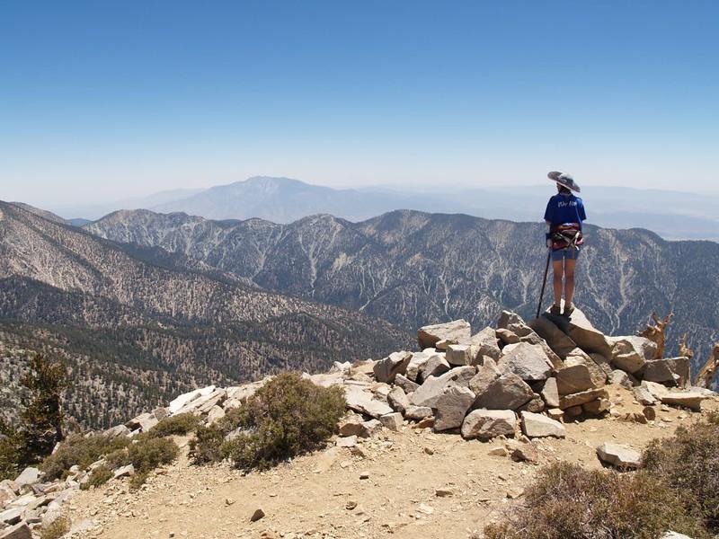 The summit off East San Bernardino Peak with San Jacinto Peak and Little San Gorgonio Peak in the distance