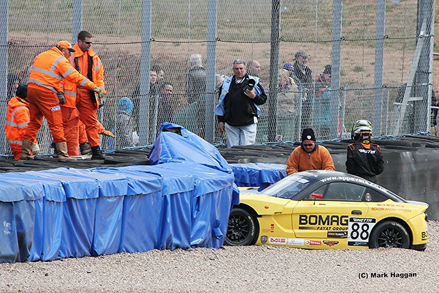 A crash in the Ginetta Racing at the 2012 BTCC weekend at Donington Park in April 2012