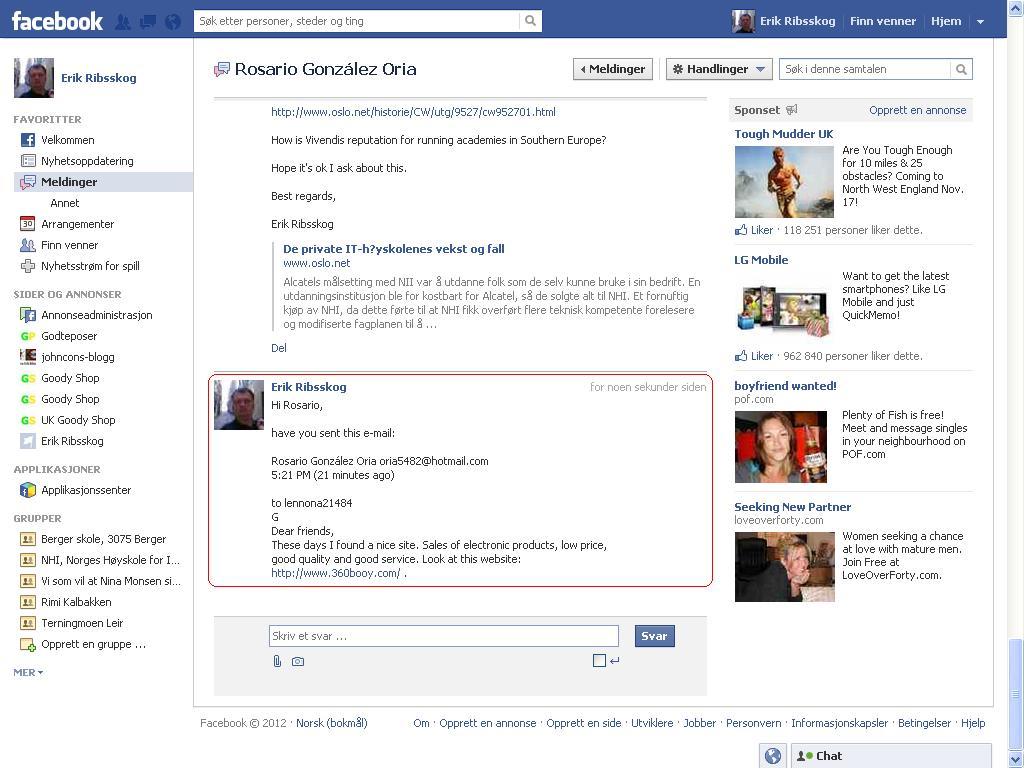 sendte facebook melding rosario sunderland