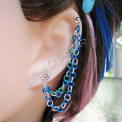 Blue, Green and Silver Double Cartilage Chain Earring