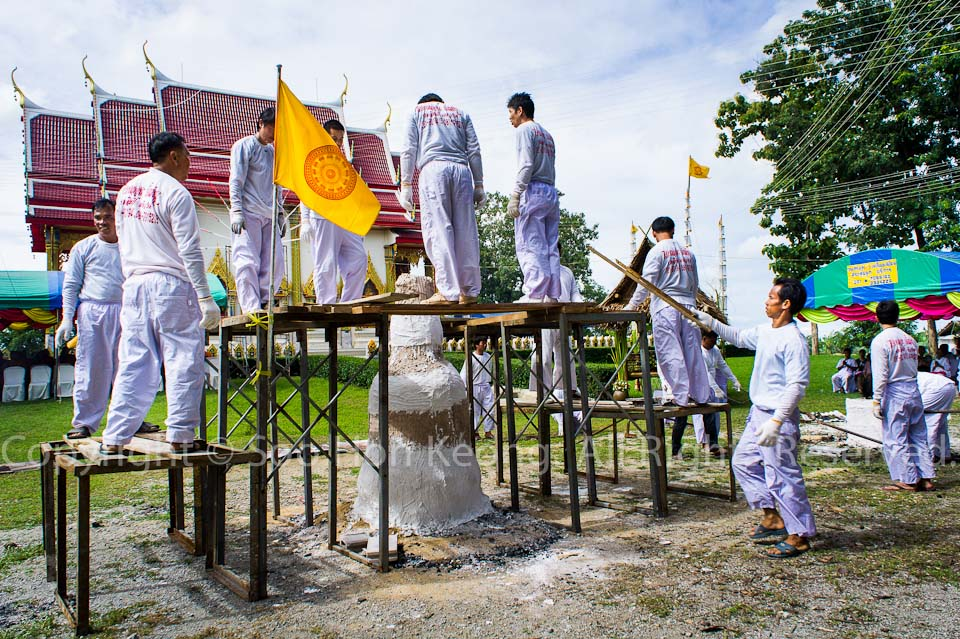 "Preparation on pouring ""Gold"" to make buddha statue @ Wat Bo Rahaeng, Kanchanaburi, Thailand"