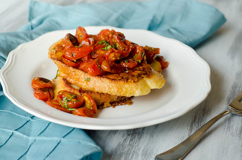 Pink Parsley: Savory Parmesan French Toast with Tomato-Basil Topping