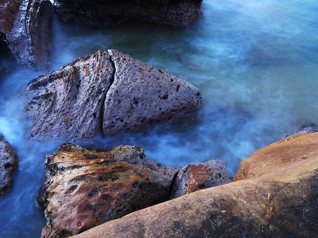Terrigal beach rocks - slow exposure 3 stop neutral density