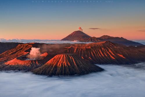 mountains sunrise indonesia landscape volcano bromo semeru tengger