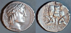 RRC 503/1 Q.CAEPIO BRVTVS IMP Brutus Denarius. Apollo, trophy with captives. Greece 42BC. An extremely rare type.