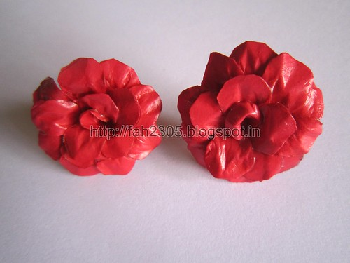 Handmade Jewelry - Paper Rose Earrings (Maroon Red) (2) by fah2305