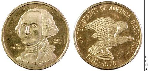 Gold Bicentennial Token reverse