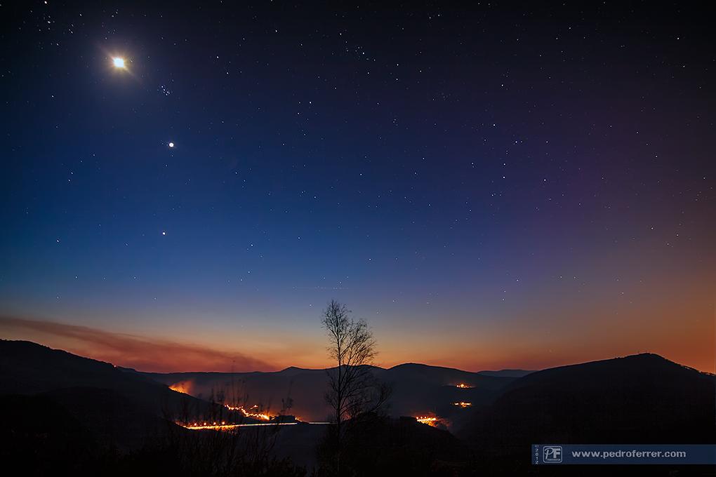 Conjunción estelar - Júpiter, Venus y Luna