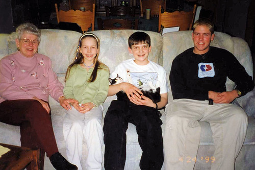 Christina (9) wearing her wrapped braid and Will (14) with their grandma and cousin Tim, 1999.