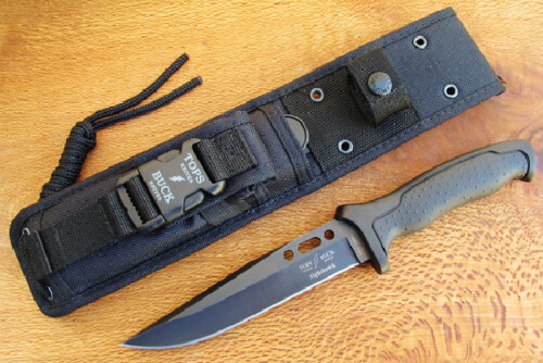 "TOPS/Buck 650 Nighthawk Combat Knife Fixed 6-1/2"" Plain Blade, Nylon Handles"