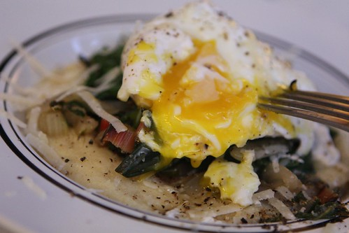 Creamy Polenta wth Wilted Swiss Chard, Spinach, Poached Egg, and Grated Parmigiano-Reggiano