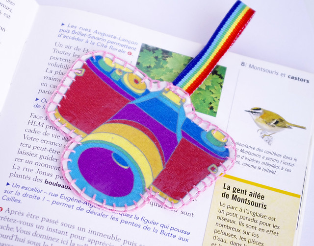 Retro camera rainbow bookmark by CocoFlower