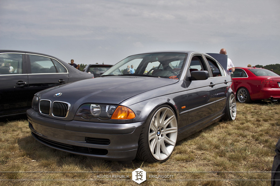grey bmw e46 7 series wheels  at euro hanger 2012 Michigan 3pc wheels static airride low slammed coilovers stance stanced hellaflush poke tuck negative postive camber fitment fitted tire stretch laid out hard parked seen on klutch republik