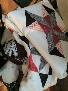 red, black, white quilt