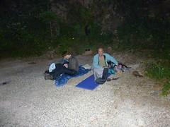 Bivouac à la prise d'eau de la Cavicchia : préparatifs pour Bruno et Eckard