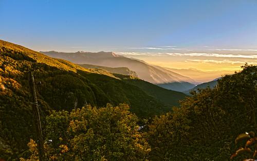 sunset panorama lake mountains clouds forest landscape view canyon pole hills macedonia vista range fyrom debar галичник galičnik bistramountain
