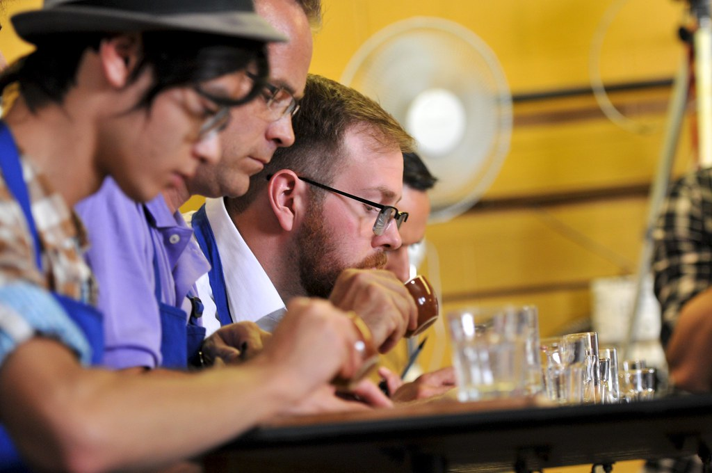 Sensory judge tasting Albert Sarasith's (Caffe Rosso) espresso
