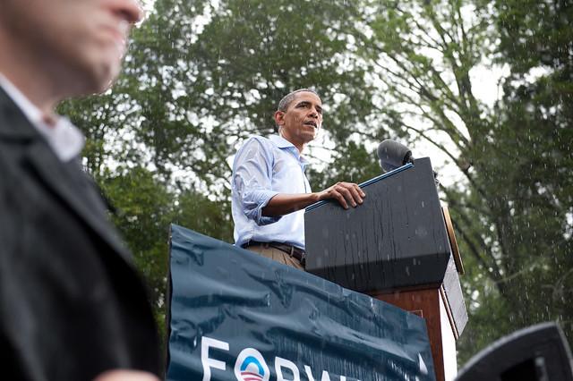 President Obama in the rain