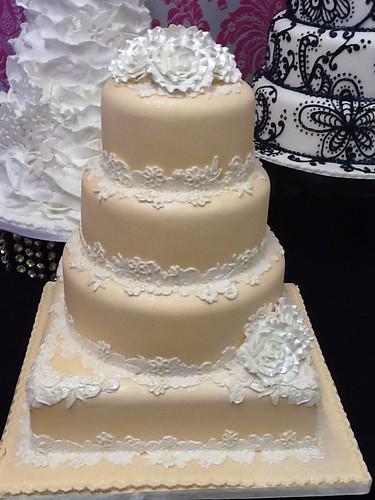 Peach and Lace Wedding Cake