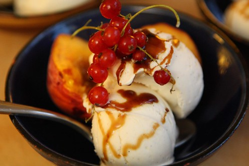 Vanilla Ice Cream with Peaches, Currants, and Balsamic Glaze