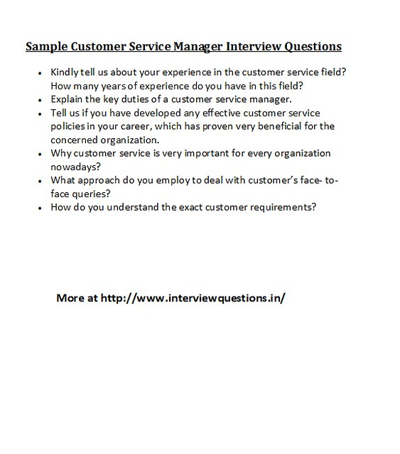 sample customer service manager interview questions