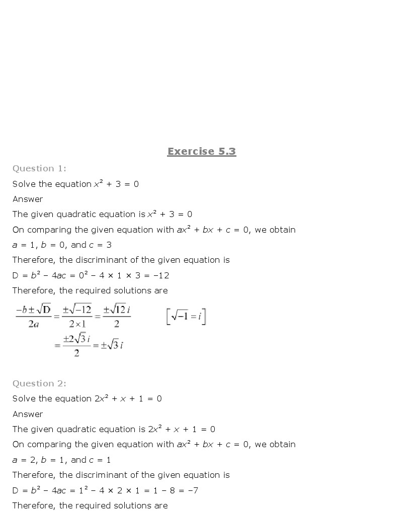 NCERT Solutions for Class 11 Maths Chapter 5 – Complex Numbers and ...
