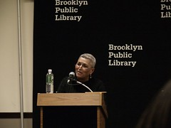 Pam reading in Brooklyn