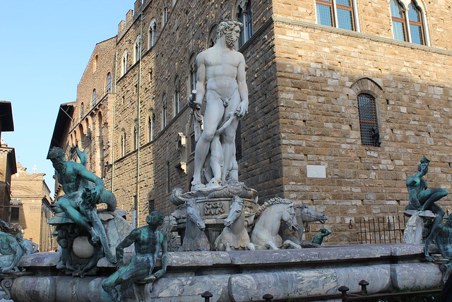 A copy of Michelangelo's David in front of the Palazzo Vecchio