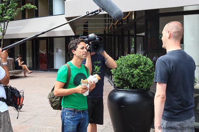 Camera crew filming a tv segment