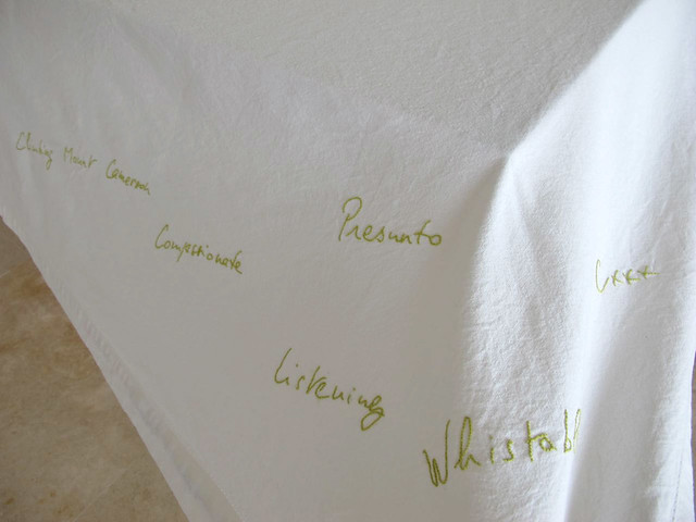 Details of an embroidered table towel