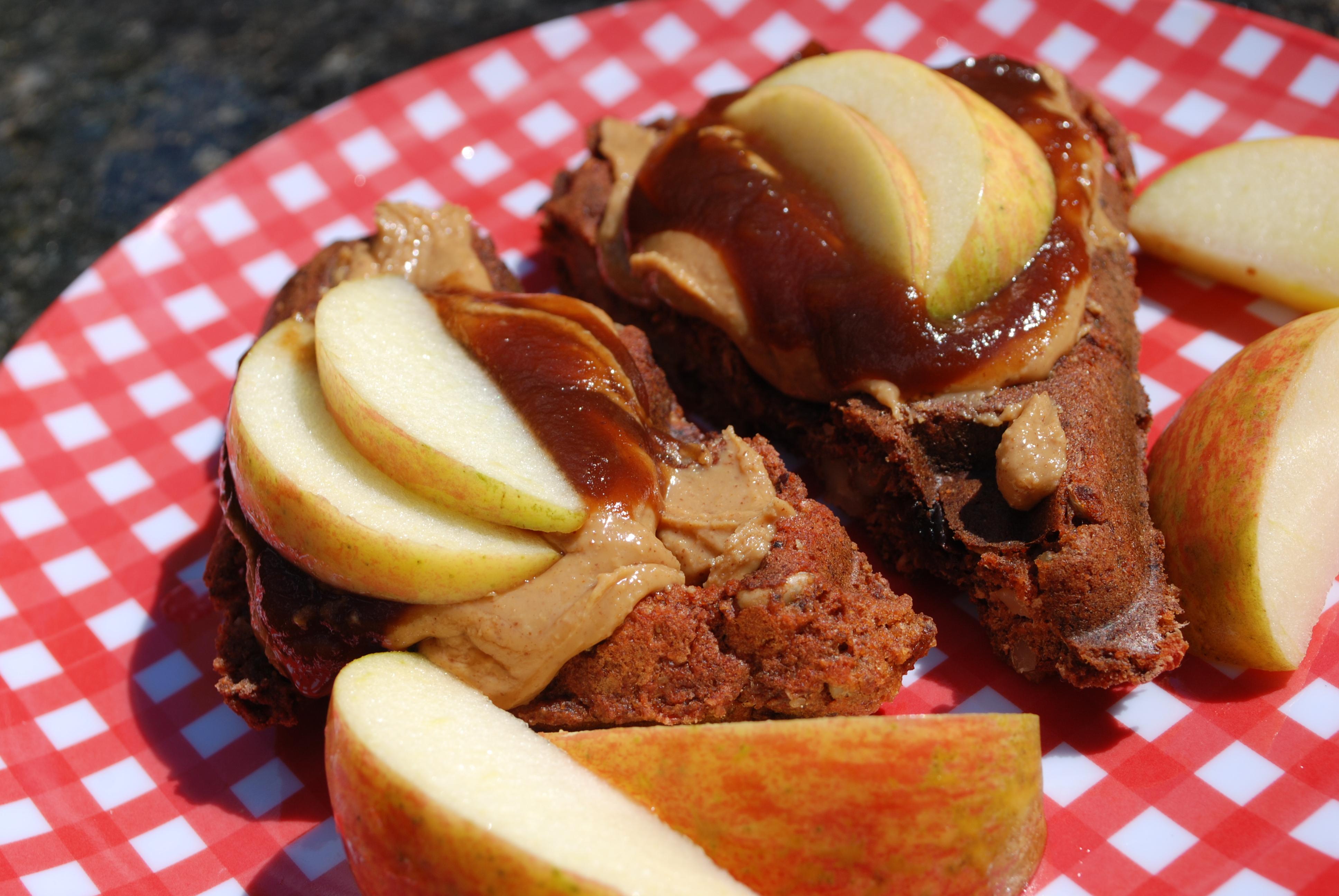 Peanut butter and apple butter waffles