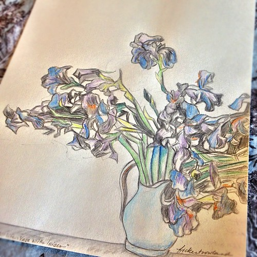 A little #sketch after #VanGogh Irises I completed during my morning warm-up. Sending off to a friend in the #mail !