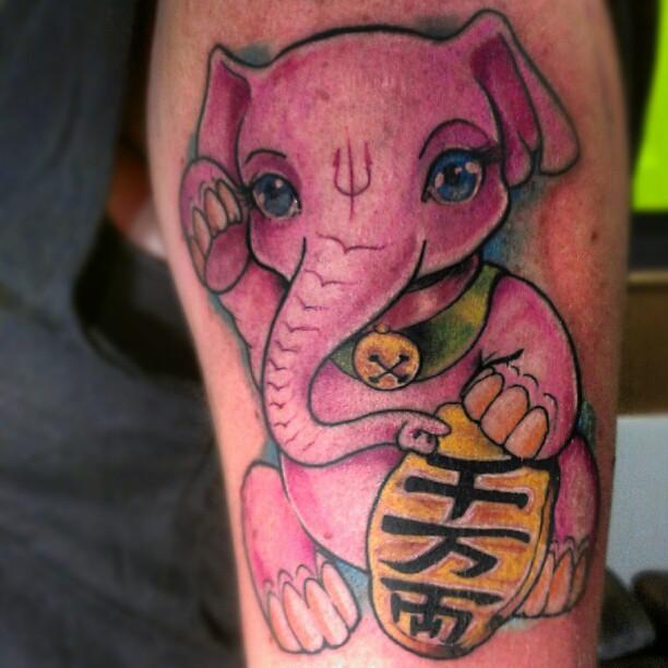 Lucky Elephant. Neko Style..#neko #japanese #tattoo