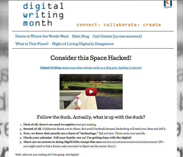 Digiwrimo Web Hack