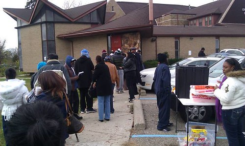 People line up outside the Grace Episcopal Church on Rosa Parks Blvd. in Detroit on election day, November 6, 2012. People stood in line for three hours to cast their vote. (Photo: Abayomi Azikiwe) by Pan-African News Wire File Photos