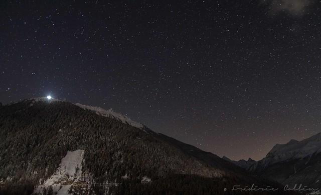 Hotel Weisshorn in the dark under the stars