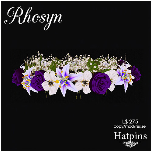 Hatpins - Rhosyn Hair Wreath - Purple and White