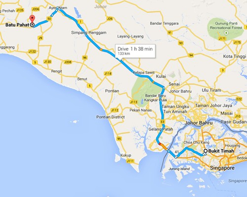 batu pahat to Singapore 98 mins
