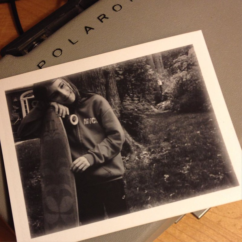 Miles with his beloved longboard. Polaroid pic of the day. #polaroid #longboard #nofilterneeded